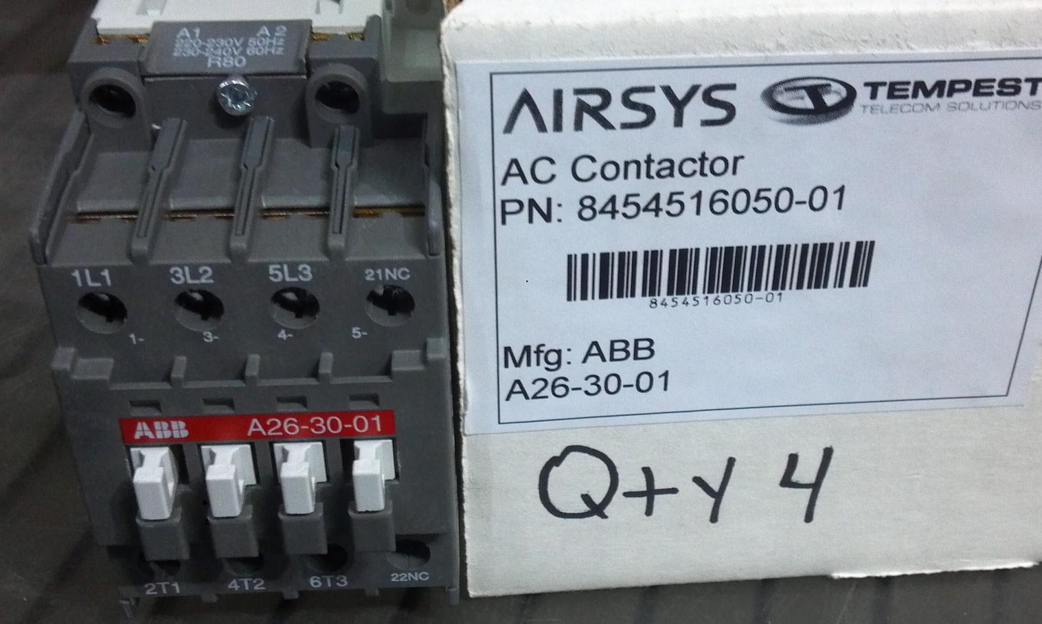 Contactor, ABB A26-30-01, 220VAC Coil, 26A/3P, 1NC AUX Image
