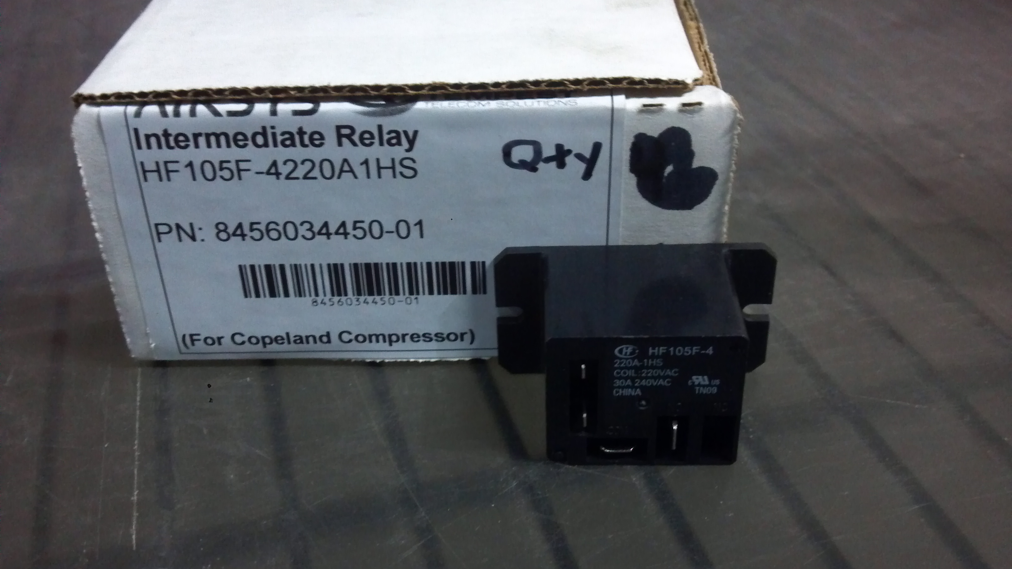 Relay, HF105F-4220A1HS, 220V Coil, Rated for 30A/240VAC Image